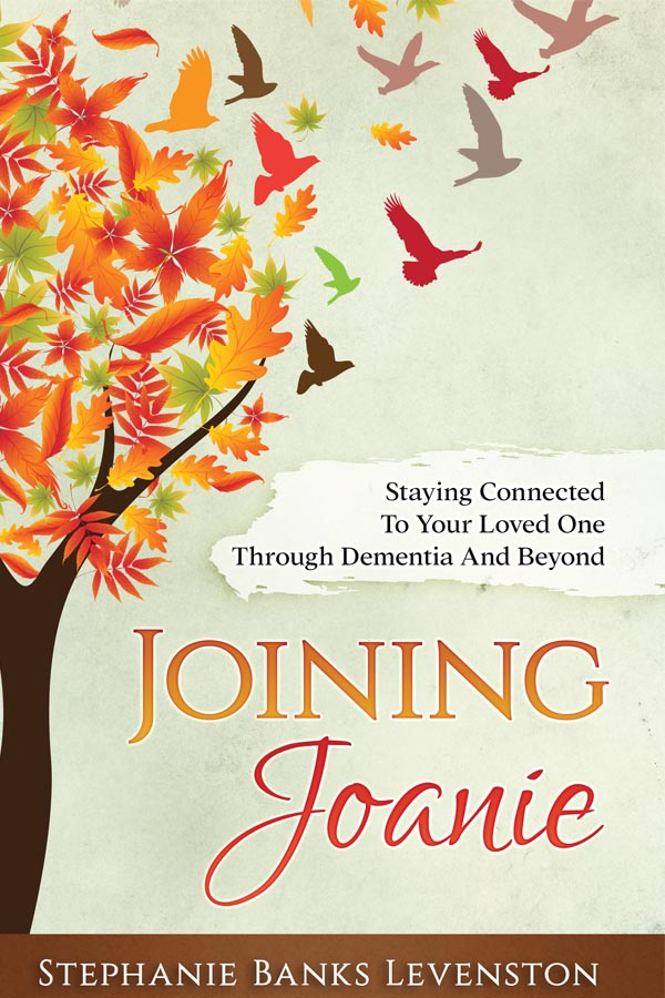 front cover of stephanie levenston's book joining joanie, showing autumn leaves turning into birds