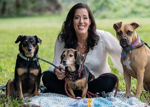 stephanie banks with 3 dogs